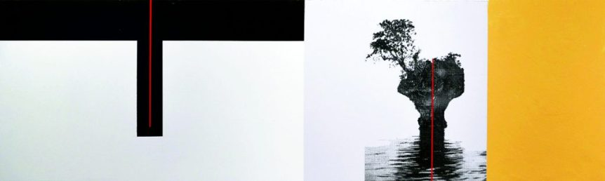 "Ken Webb ""Bonsai Island"" 18"" x 60"" Mixed Media on Canvas board"
