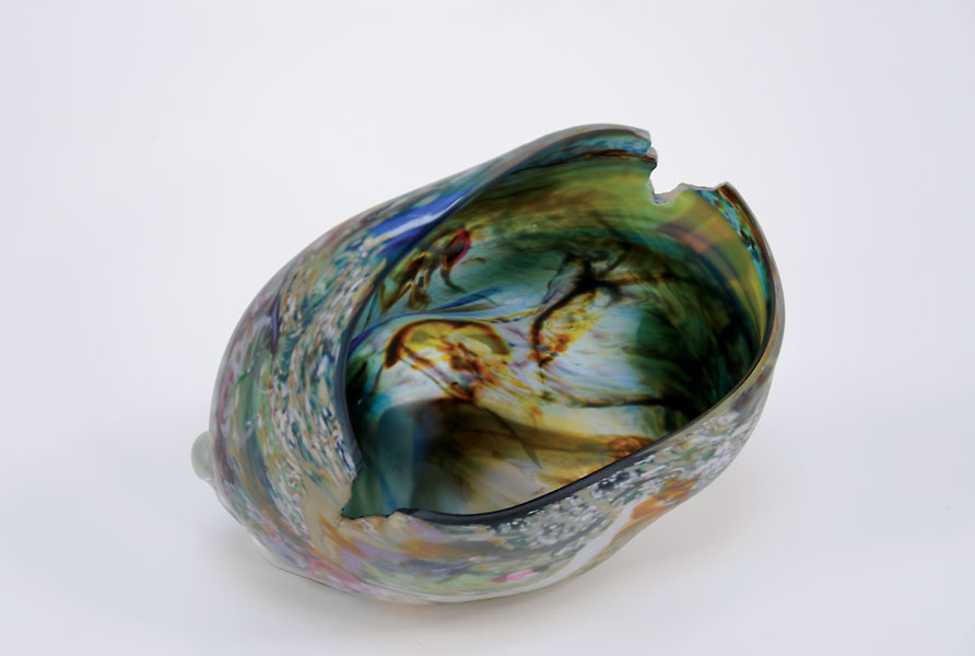 "Marty Kaufman ""Eroded Form"" 25 cm x 29 cm x 23cm Blown Carved Glass"