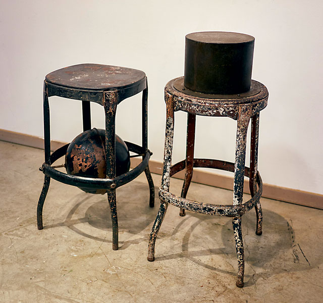 """Walter May  """"High Chairs (hat and globe)""""  Live Auction Lot #19"""