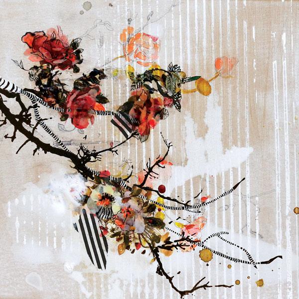"Samantha Walrod ""English Rose, Alberta Rose"", 2014 12"" x12"" Mixed Media on Panel"