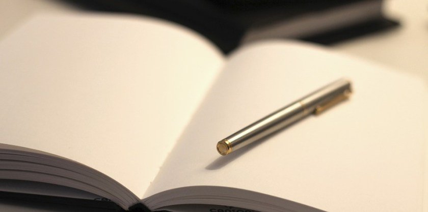 A silver pen in a blank, open journal.