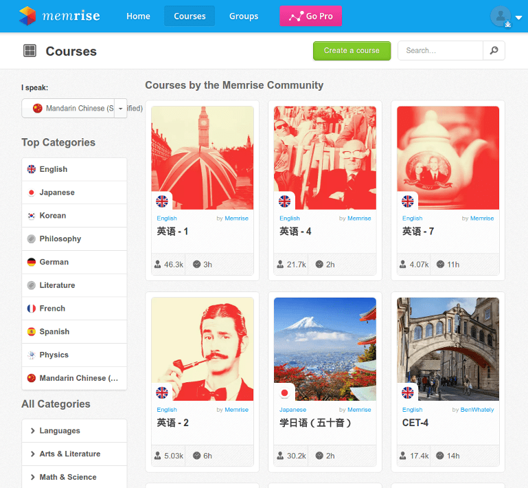 Memrise courses homepage.