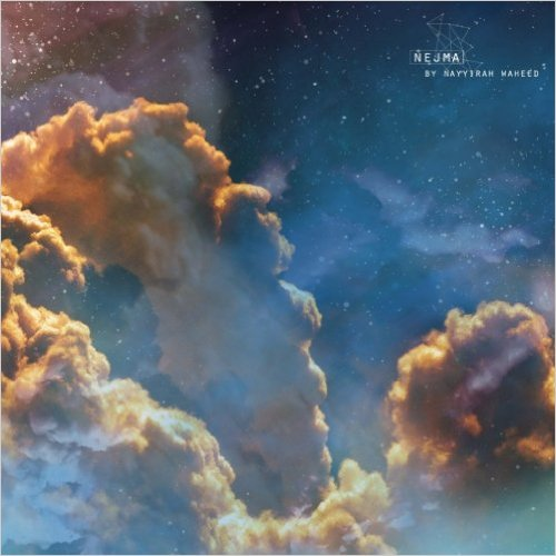 "The cover of Nayyirah Waheed's poetry collection ""nejma,"" featuring a blue-golden nebula in space."
