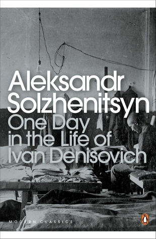 The Penguin Classics cover of One Day in the Life of Ivan Denisovich, featuring a black and white photograph of someone in a prison.