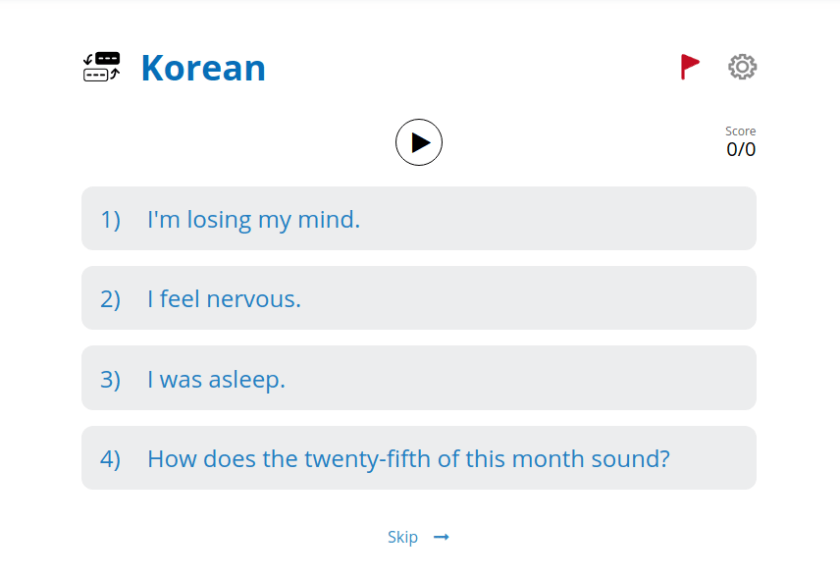Screenshot of a translation activity on Glossika