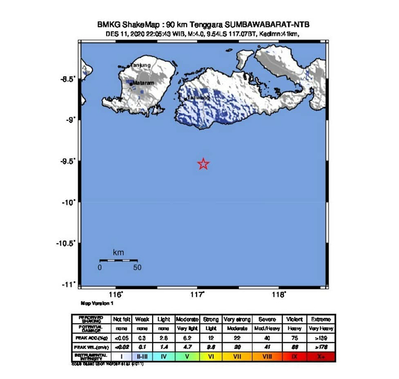 Gempa Bumi M 4.0 Guncang Sumbawa Barat