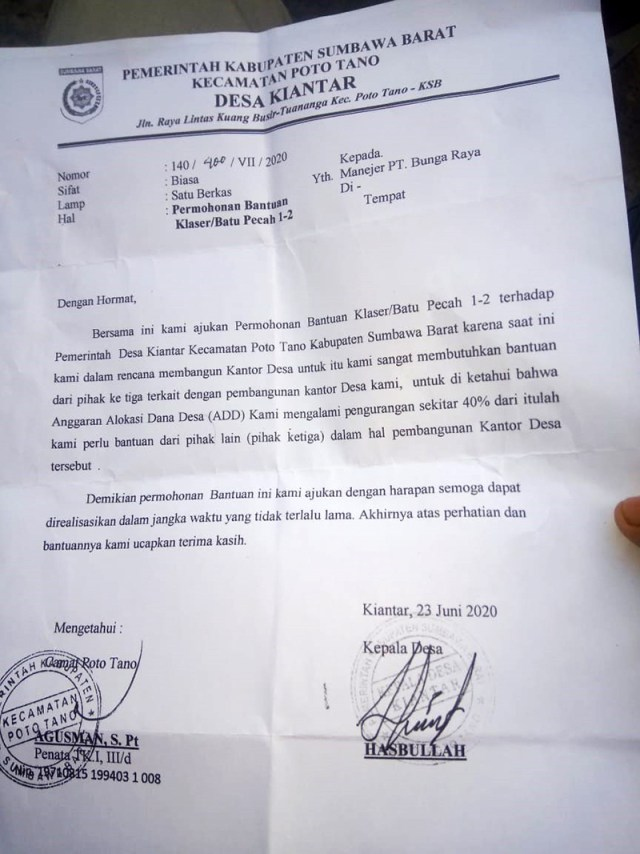 Surat Kades Kiantar Ke PT Bunga Raya