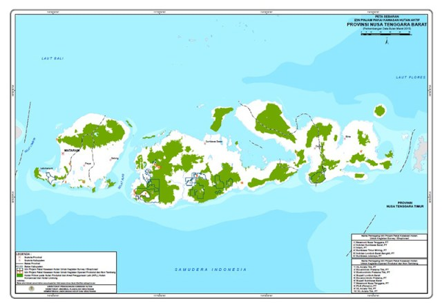 Peta Sebaran Izin Pinjam Pakai Kawasan Hutan di NTB