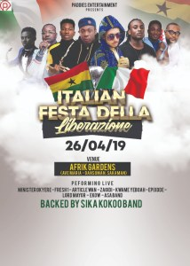 Paddies Entertainment Presents Italian Festa Della Liberazione