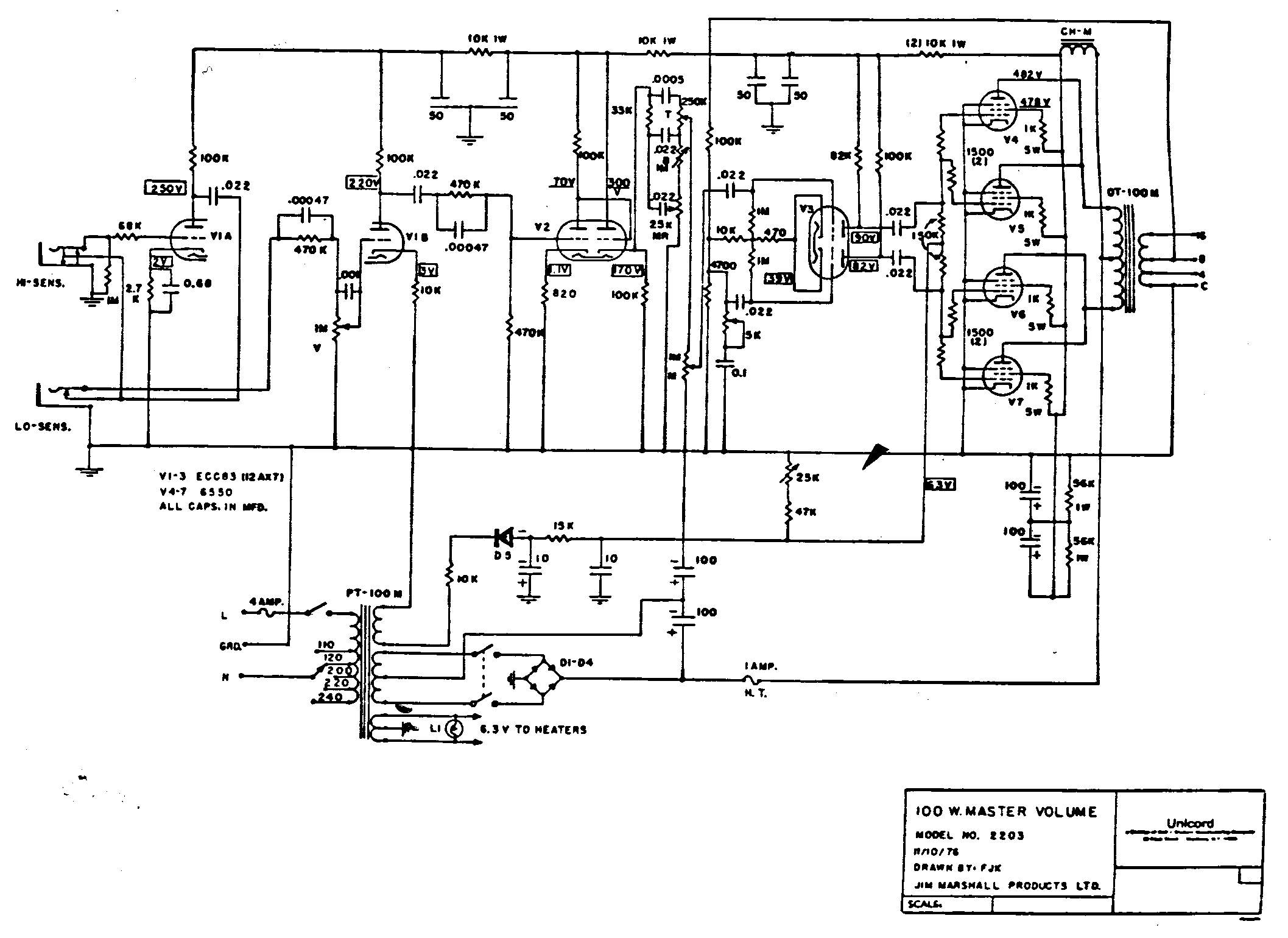 Marshall 75 Reverb Schematic