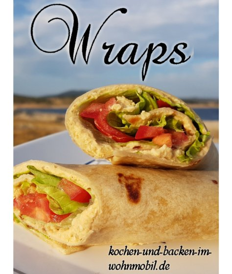 Hummus mit Salat als Wraps