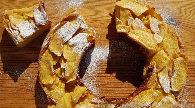 Superkuchen mit Äpfeln oder Gateau Invisible aus dem Omnia Camping Backofen