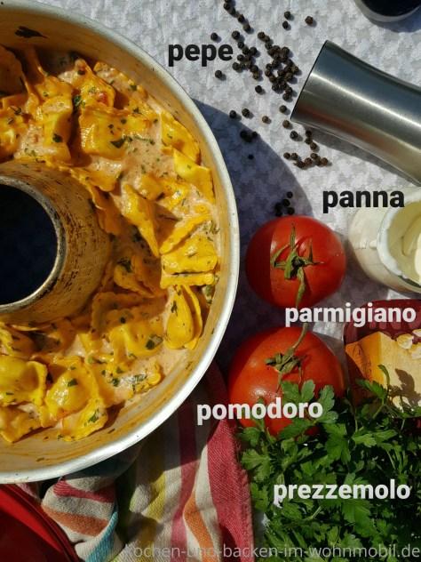 One Pot Omnia Rezept: Ravioli in cremiger Cinque Pi Soße. Eine schnelle Soße aus Italien.