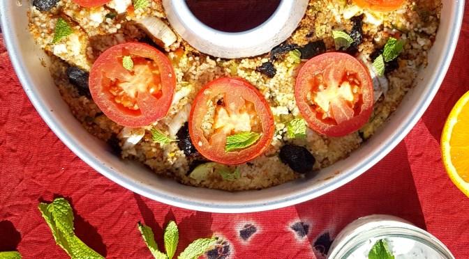 Buntes Couscousgemüse mit Orange & Minzjoghurt aus dem OMNIA Backofen
