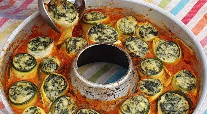 Gefüllte Zucchiniröllchen oder Zucchini Canneloni aus dem OMNIA Backofen