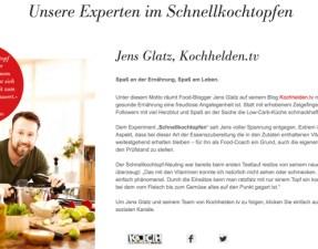 Fissler stellt den Kochhelden-Blog auf seiner Homepage vor