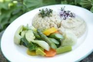 Gemüseteller mit Hummus und Naturreis