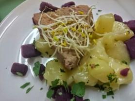 Mousse von der Entenleber auf Salat von blauen und weißen Kartoffeln mit Holunderblütendressing
