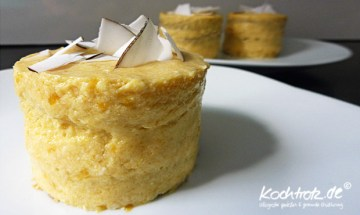 Mango-Kokos-Tofu-Törtchen mit Dinkel-Schoko-Biskuit, Ei- und Laktosfrei