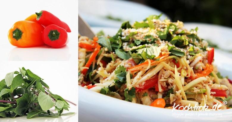 Thailändischer Salat mit grüner saurer Mango