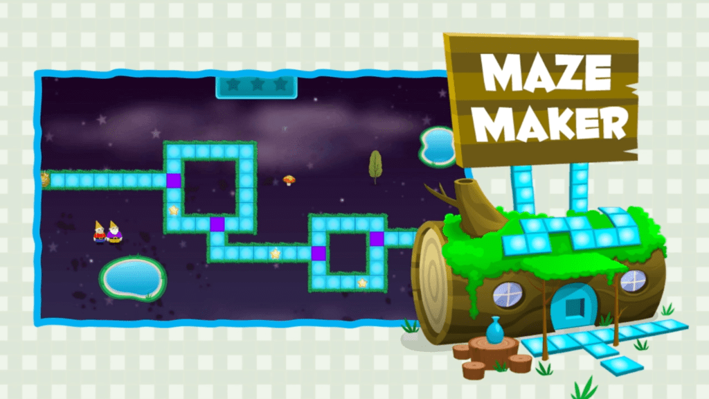 use your math and coding skills to make a square in maze maker