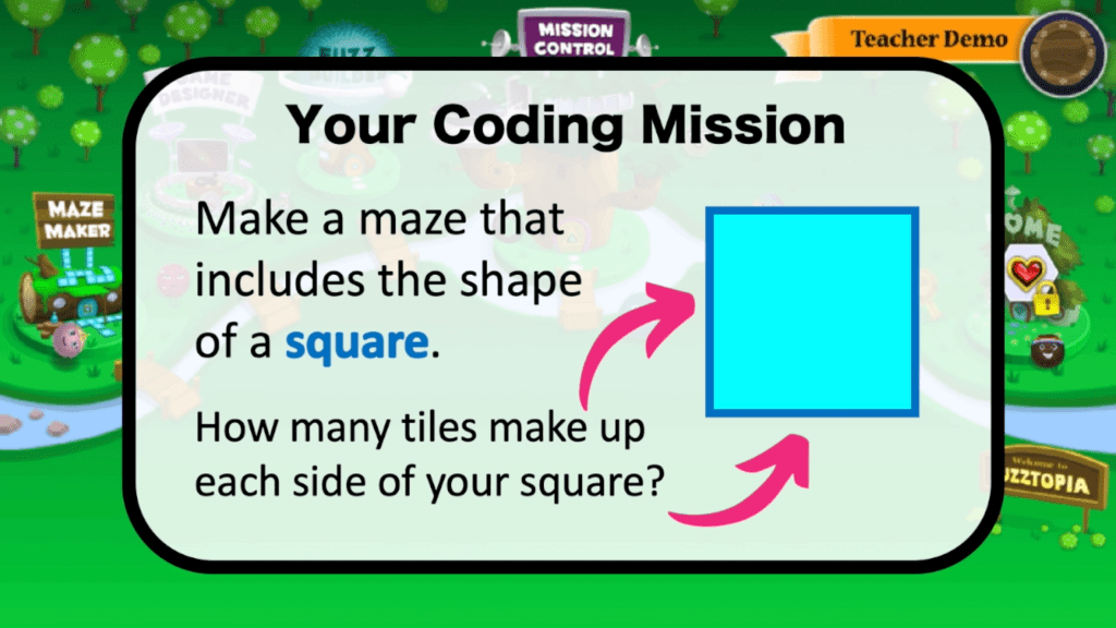 use math and coding skills to make a square in your maze
