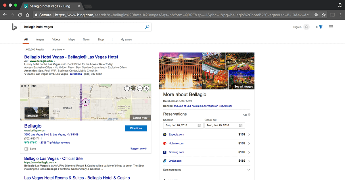 Bing Hotel Ads Example