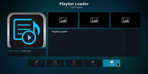 playlist loader kodi addon setup