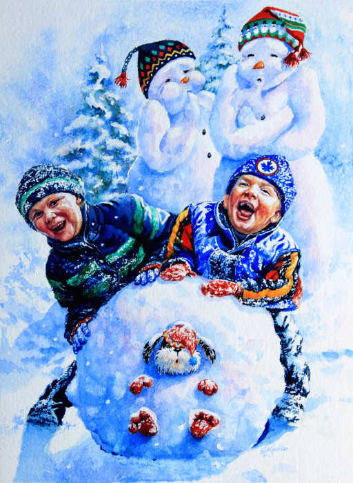 Painting Of Children And Dog Playing In Snow