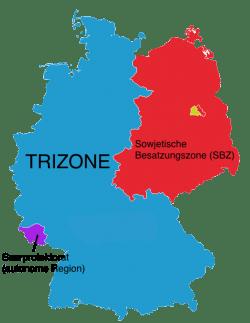 Die Besatzungszonen nach dem 2. Weltkrieg, Bildquelle: Elymnus