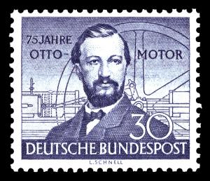 """Briefmarke von 1952 zu """"75 Jahre Otto-Motor"""""""