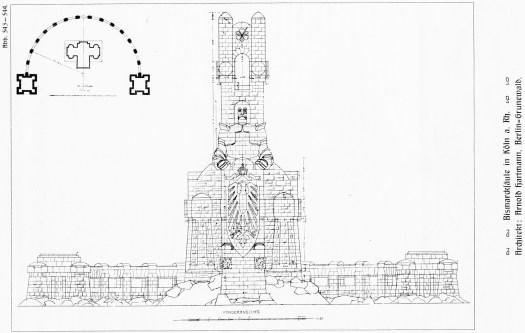 Skizze von Architekt Arnold Hartmann mit ursprünglich vorgesehenem Unterbau, Bild: Bismarcktuerme.de