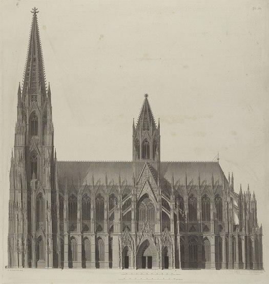 "Sulpiz Boisserée ""Idealansicht"" des fertigen Doms (1821). Gut zu erkennen: Der massive, achteckige Vierungsturm"