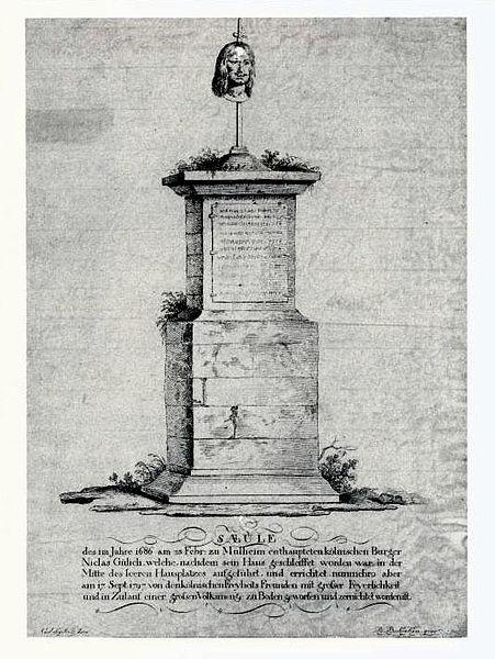Die Gülich-Schandsäule am Gülich-Platz, 1797 von den Franzosen abgebrochen.