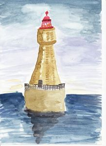 Leuchtturm Aquarell RezensionslisteSymbolbild