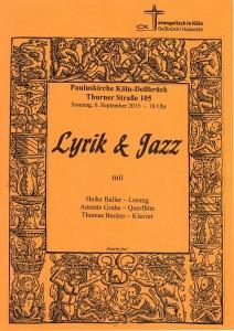 Plakat für Lyrik und Jazz am 6.9.2015