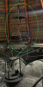 Heutzutage hängt dieser Arbeitsplatz im Dachstuhl - früher schwebte man damit draußen an der Fassade ...