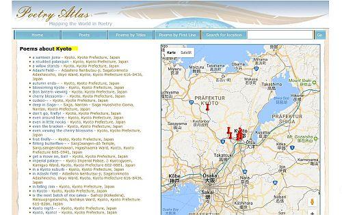 Poetry Atlas Kyoto Titel und Ortsangaben