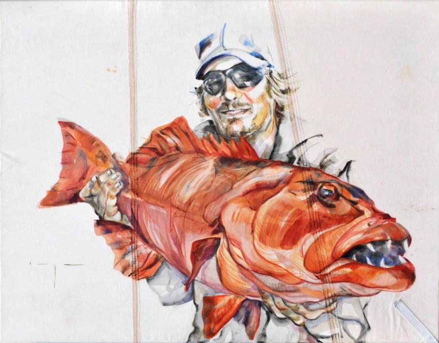 Fisherman 03 | Acrylic on sailcloth | 70x90 cm | Loris Teguise Lanzarote ES