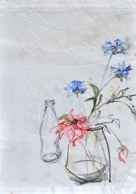 Flowers on sail, bottle