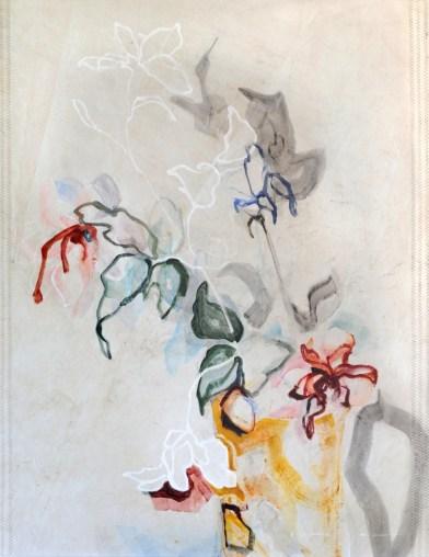 Flowers Sail Yellow Vase |Acrylic on sailcloth | 91x123 cm | Steel frame top&bottom