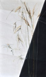 Grasses on sail   acrylic, pencil on sail   70x100cm