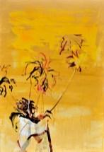 Flowers in Vase Yellow  Acrylic on wooden panel   90x120 cm