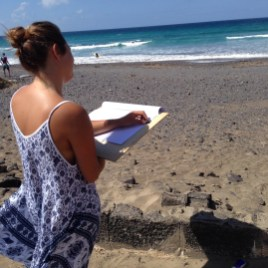 Tina drawing seascape - class al fresco