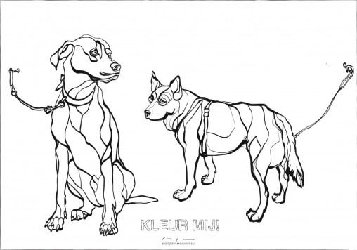 Kleurplaat honden Kunst Supermarkt
