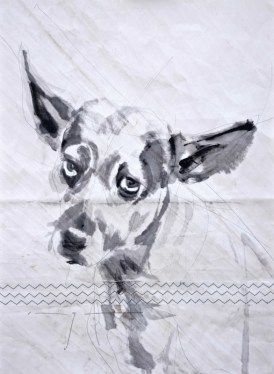 Gallery Culture of Yinbao Guangzhou Gallery China | Dog on sail 01|Acrylic on sailcloth | 50x70 cm