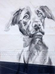 Dog on sail 04 Acrylic on sailcloth   50x70 cm