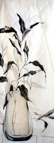Black leaves in plastic pot |acrylic on sailcloth| 90x +-200 cm
