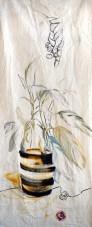 Pot Plant Hand acrylic, pencil, on sailcloth  90x +-200 cm