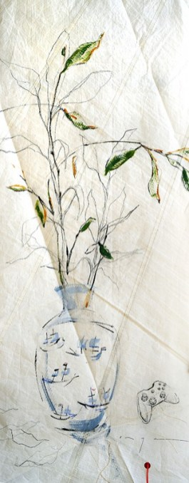 Vase with paper planes and remote control  acrylic, pencil, on sailcloth  90x +-200 cm